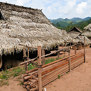 The thatched roof of a building in Lakkhamma Village in Luang Namtha province in northern Laos. Lakkhamma Village was established as a joint project between the Lao government and the European Commission.