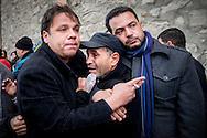 © Benjamin Girette / IP3 PRESS : le 8 Fevrier 2013:  Le corp de Chokri BELAID est amène a la Maison de la culture Jbel jloud a proximité de Tunis avant la procession vers le cimetière, Tunis.