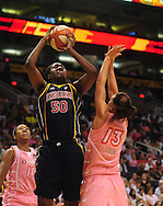 Aug 8, 2010; Phoenix, AZ, USA; Indiana Fever center Jessica Davenport puts up a basket against Phoenix Mercury forward Penny Taylor during the first half in at US Airways Center.  Mandatory Credit: Jennifer Stewart-US PRESSWIRE