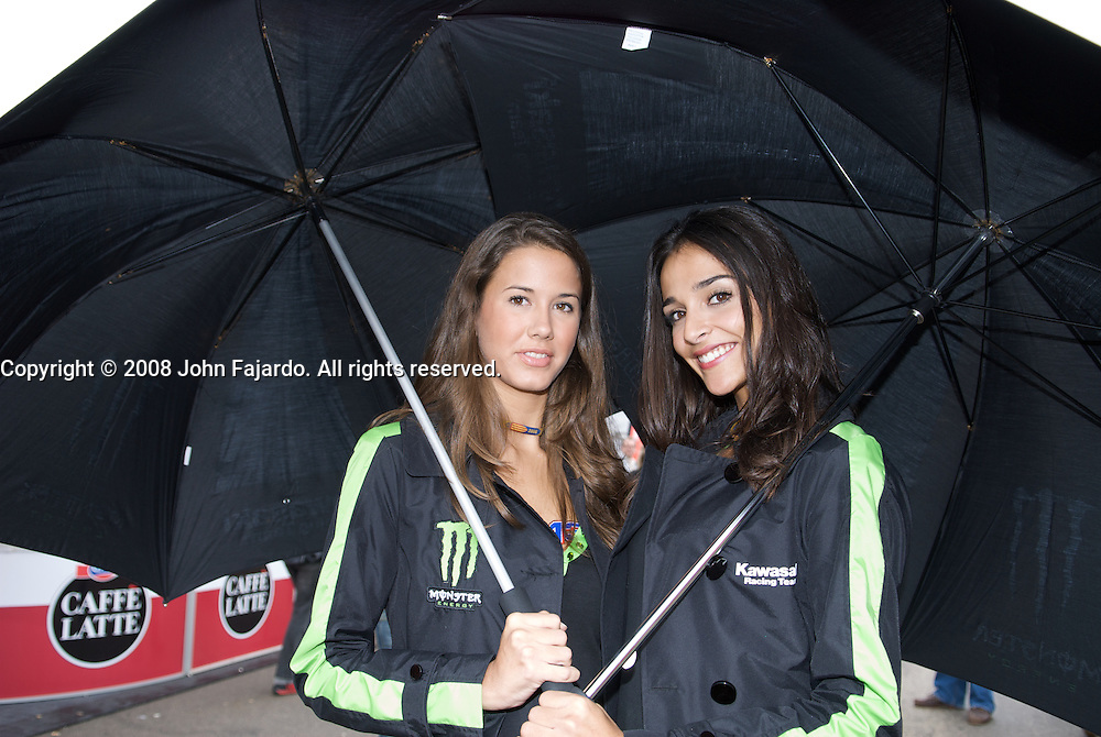 Team Kawasaki grid girls pose in the paddock area at the Valencia Circuit, Cheste Spain Sunday October 26, 2008.