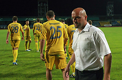 Head coach of Domzale Robert Pevnik and his players before penalty shots at Slovenian Supercup between NK Domzale and NK Interblock, on July 9, 2008, in Domzale. Interblock won the mach and Supercup by 7 : 6 after penalty shots. (Photo by Vid Ponikvar / Sportal Images)