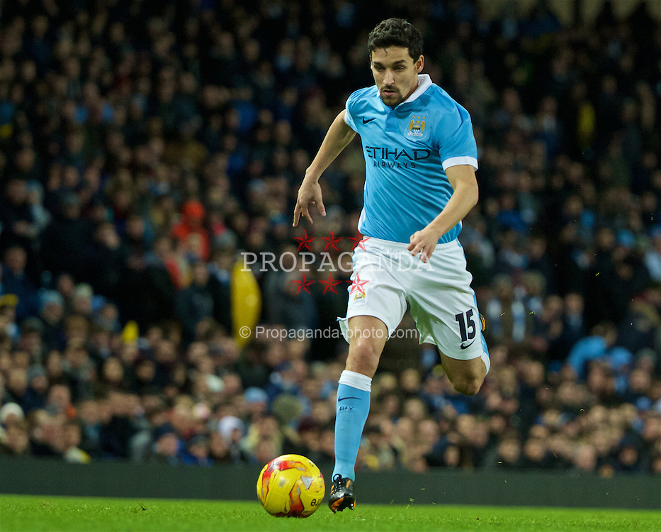 MANCHESTER, ENGLAND - Wednesday, January 27, 2016: Manchester City's Jesus Navas in action against Everton during the Football League Cup Semi-Final 2nd Leg match at the City of Manchester Stadium. (Pic by David Rawcliffe/Propaganda)