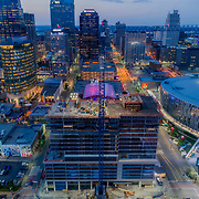 Two Light Tower construction progress update as of early May, 2017; downtown Kansas City, Missouri. Developed by Cordish Co./Power & Light District; JE Dunn - general contractor overseeing construction.