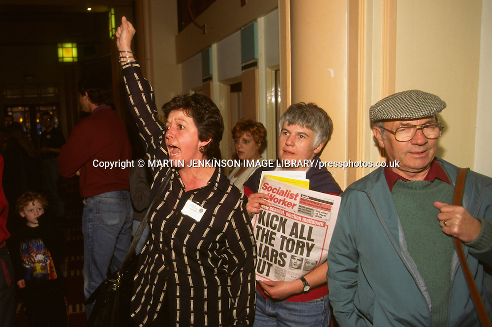 Protesters greet David Blunkett as he arrives at the National Union of Teachers Conference...