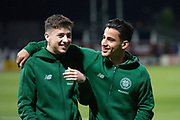 31st October 2018, Kilmac Stadium, Dundee, Scotland; Ladbrokes Premiership football, Dundee v Celtic; Michael Johnston and Daniel Arzani of Celtic