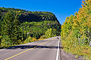 Cyclists heading up Wolfe Creek Pass on Highway 160, Rio Grande National Forest, Colorado