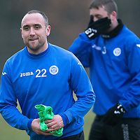 St Johnstone Training....13.02.15<br /> Lee Croft pictured during training this morning at McDiarmid Park ahead of tomorrow's game against Celtic<br /> Picture by Graeme Hart.<br /> Copyright Perthshire Picture Agency<br /> Tel: 01738 623350  Mobile: 07990 594431