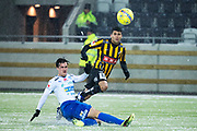 G&Ouml;TEBORG - 2018-02-18: Paulinho i BK H&auml;cken skjuter och Jon Birkfeldt i IFK V&auml;rnamo  f&ouml;rs&ouml;ker t&auml;cka under matchen i Svenska Cupen, grupp 4, mellan BK H&auml;cken och IFK V&auml;rnamo den 18 februari 2018 p&aring; Bravida Arena i G&ouml;teborg, Sverige.<br /> Foto: Anders Ylander/Ombrello<br /> ***BETALBILD***