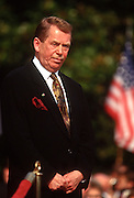 "Czech President Vaclav Havel at the White House during the Czech State Visit September 16, 1998 in Washington, DC.  Vaclav Havel, the former dissident playwright who led Czechoslovakia's 1989 ""Velvet Revolution"" against communism and then served as his country's president, died December 18, 2011.  He was 75."