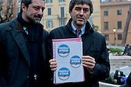 Roma, 11 Gennaio 2013.In fila per depositare i simboli dei partiti al ministero dell'Interno  in vista del voto..La Lista Fratelli d'Italia  Centrodestra Nazionale.