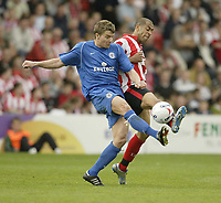 Photo: Aidan Ellis.<br /> Lincoln City v Rochdale. Coca Cola League 2. 06/05/2006.<br /> Lincoln's Francis Green battles with Rochdale's Mark Jackson