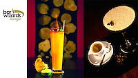 Advertising photography showing a espresso, irish coffee with coffee bean and flaming cocktail