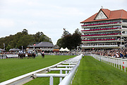 The horses gallop towards the bend at the end of the home straight first time round and in front of the Melrose Stand during The Little Green Rascals Childrens Nurseries Stakes over 2m (£17,000)   during the Newby and the Press Family Raceday at York Racecourse, York, United Kingdom on 9 September 2018. Picture by Mick Atkins.