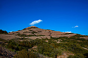 The 1056 metre high mountain of Montcau, in the Parc Natural Sant Llorenc del Munt massif, near Barcelona, Catalonia.
