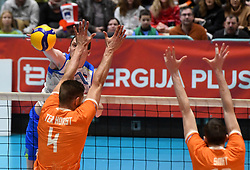 Toncek Stern of Slovenia, Horst ter Thijs and Tirn Smit of Netherlands during friendly volleyball match between National Men teams of Slovenia and Netherlands, on Januar 2nd, 2020, in Dvorana Tabor, Maribor, Slovenia. Photo by Milos Vujinovic / Sportida