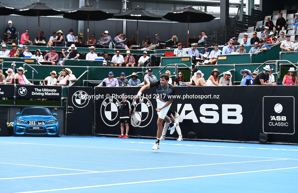 Robin Haase service speed on BMW radar during the ASB Classic ATP Mens Tournament Day 1. ASB Tennis Centre, Auckland, New Zealand. Monday 9 January 2017. ©Copyright Photo: Chris Symes / www.photosport.nz