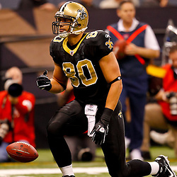 January 2, 2011; New Orleans, LA, USA; New Orleans Saints tight end Jimmy Graham (80) celebrates after a catch during the first quarter against the Tampa Bay Buccaneers at the Louisiana Superdome. Mandatory Credit: Derick E. Hingle