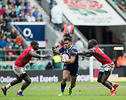 Twickenham, Surrey United Kingdom. USA's, Maka UNUFE, going for the gap, during the Pool A game USA vs Kenya, at the  &quot;2017 HSBC London Rugby Sevens&quot;,  Saturday 20/05/2017 RFU. Twickenham Stadium, England    <br /> <br /> [Mandatory Credit Peter SPURRIER/Intersport Images]
