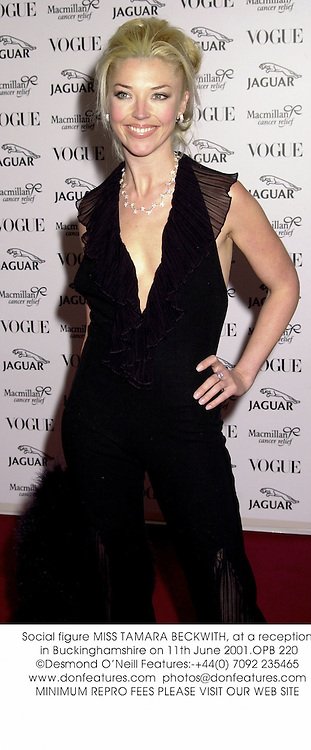 Social figure MISS TAMARA BECKWITH, at a reception in Buckinghamshire on 11th June 2001.OPB 220