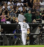 CHICAGO - JUNE 06:  John Danks #56 of the Chicago White Sox tips his cap to the crowd after being removed from the game against the Seattle Mariners in the eighth inning on June 6, 2011 at U.S. Cellular Field in Chicago, Illinois.  The White Sox defeated the Mariners 3-1.  (Photo by Ron Vesely)  Subject:  John Danks