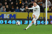 Jonjo Shelvey  kicks ball forward during the Capital One Cup match between Hull City and Swansea City at the KC Stadium, Kingston upon Hull, England on 22 September 2015. Photo by Ian Lyall.