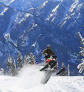 Todd Williams ripping up a skyline ridge in the Snake River Range on his 2011 Polaris Pro RMK