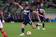 MELBOURNE, AUSTRALIA - APRIL 23: Terry Antonis (8)  of Melbourne Victory takes a shot at goal during the AFC Champions League Group Stage match between Melbourne Victory and Guangzhou Evergrande at AAMI Park on April 23, 2019 in Melbourne, Australia. (Photo by Speed Media/Icon Sportswire)
