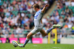 Saracens Fly-Half (#10) Owen Farrell kicks a conversion during the second half of the match - Photo mandatory by-line: Rogan Thomson/JMP - Tel: Mobile: 07966 386802 07/09/2013 - SPORT - RUGBY UNION - Twickenham Stadium - London Irish v Saracens - Aviva Premiership - London Double Header.
