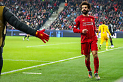 Goal Liverpool forward Mohamed Salah (11) scores a goal and celebrates 0-2 during the Champions League match between FC Red Bull Salzburg and Liverpool at the Red Bull Arena, Salzburg, Austria on 10 December 2019.