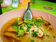 13 MAY 2015 - SAMUT SONGKRAM, SAMUT SONGKRAM, THAILAND:    Noodle soup with roast pork in a street food stall in Samut Songkram.   PHOTO BY JACK KURTZ