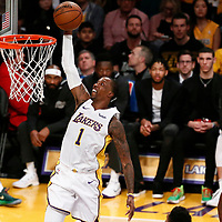 25 December 2017: Los Angeles Lakers guard Kentavious Caldwell-Pope (1) goes for the dunk during the Minnesota Timberwolves 121-104 victory over the LA Lakers, at the Staples Center, Los Angeles, California, USA.