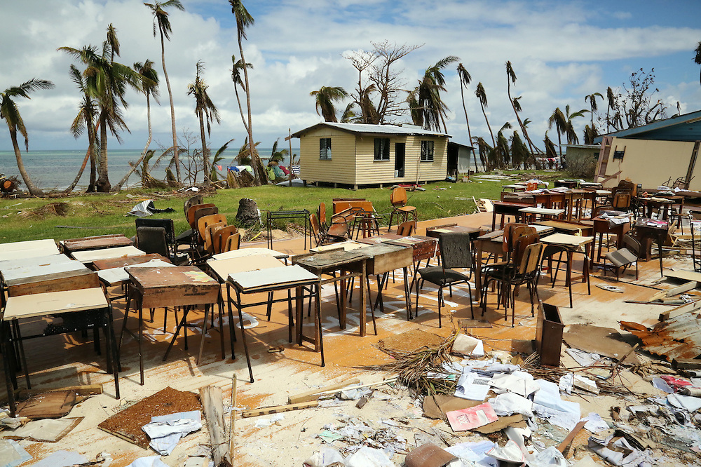 The Yasawa High School was flattened by cyclone Winston leaving all the desks and chairs remaining where they stood in the village of Marou on Naviti Island, Fiji, Friday, February 26, 2016. Credit:SNPA / Richard Moore