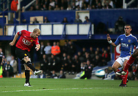 Photo: Lee Earle.<br /> Portsmouth v Manchester United. The FA Barclays Premiership. 15/08/2007.United's Paul Scholes (L) scores the opening goal.