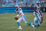 Carolina Panthers quarterback Will Grier (3) runs the ball against the Pittsburgh Steelers during a NFL football game, Thursday, Aug. 29, 2019, in Charlotte, N.C. The Panthers defeated the Steelers 25-19.  (Brian Villanueva/Image of Sport)