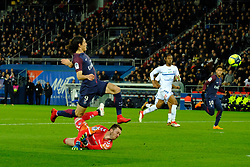 February 17, 2018 - Paris, France - Paris SG Striker CAVANI EDINSON scored the fourth goal during the League 1 French championship match Paris SG against Strasbourg RC at the Parc des Princes Stadium in Paris - France..Paris won 5-2 (Credit Image: © Pierre Stevenin via ZUMA Wire)