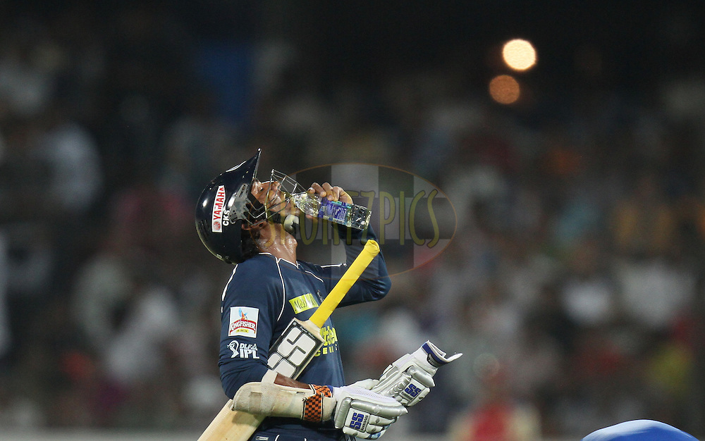 Kumar Sangakara of Deccan Chargers drinks water during match 11 of the Indian Premier League ( IPL ) between the Deccan Chargers and the Royal Challengers Bangalore held at the Rajiv Gandhi International Cricket Stadium in Hyderabad on the 14th April 2011...Photo by Parth Sanyal/BCCI/SPORTZPICS
