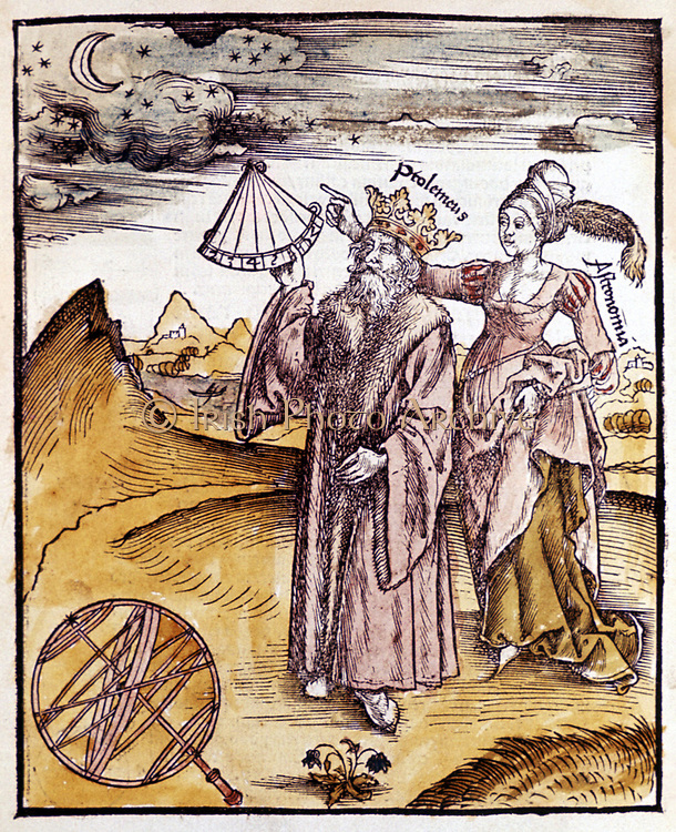 Ptolemy (Claudius of Ptolemaeus) activel150 AD Alexandrian Greek/Egyptian astronomer and geographer, using quadrant to measure altitude of Moon. Behind him stands Urania, Muse of Astronomy. He is shown wearing crown as he was sometimes confused with the Ptolemaic kings of Egypt.