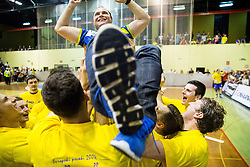 Players of Branko Tamse, head coach of Celje PL celebrate after winning during handball match between RK Gorenje Velenje and RK Celje Pivovarna Lasko in Final match of 1st NLB League - Slovenian Championship 2013/14 on May 23, 2014 in Rdeca dvorana, Velenje, Slovenia. RK Celje Pivovarna Lasko became 18-times Slovenian National Champion. Photo by Vid Ponikvar / Sportida