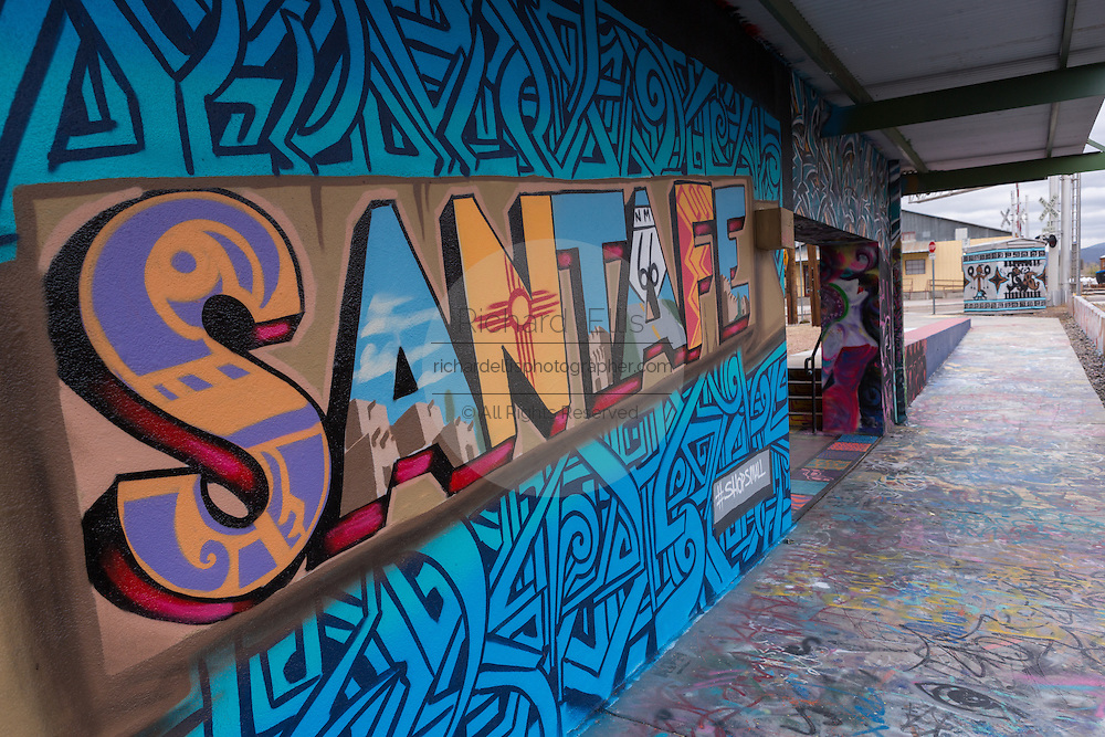 A Santa Fe mural painted along the wall of Warehouse Twenty-one community arts space in the Railyard District in Santa Fe, New Mexico.