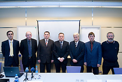 Damir Ban,  Branko Gros, mag. Stanko Glazar, Tugo Frajman, candidate for the president of Slovenian football federation, dr. Rudi Turk, Danilo Kacijan and Ciril Kolesnik at press conference,  on January 23, 2009, in Ljubljana, Slovenia.  (Photo by Vid Ponikvar / Sportida)