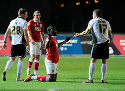 Bristol City's Jay Emmanuel-Thomas and Port Vale's Michael Brown don't see eye to eye  - Photo mandatory by-line: Joe Meredith/JMP - Mobile: 07966 386802 - 10/02/2015 - SPORT - Football - Bristol - Ashton Gate - Bristol City v Port Vale - Sky Bet League One