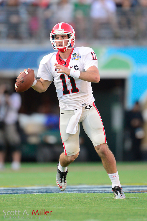 Georgia Bulldogs quarterback Aaron Murray (11) during the Bulldogs 45-31 win over the Nebraska Cornhuskers in the Capital One Bowl at the Florida Citrus Bowl on Jan 1, 2013 in Orlando, Florida. Murray was the game's MVP...©2012 Scott A. Miller..