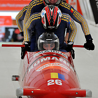 16 December 2007:  The Romania 1 sled driven by Nicolae Istrate, Mircea Nicolescu, Danut Dovalciuc and brakeman Ionut Andrei compete at the FIBT World Cup 4-Man bobsled competition on December 16, 2007 at the Olympic Sports Complex in Lake Placid, NY.  The Russia 2 sled driven by Alexandr Zubkov won the race with a time of 1:48.79.