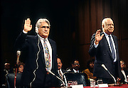 Nicaraguan Contra leaders Eden Pastora (L) and Adolfo Calero Portocarrero are sworn in to testify in Congress  November 26, 1996 in Washington, DC.