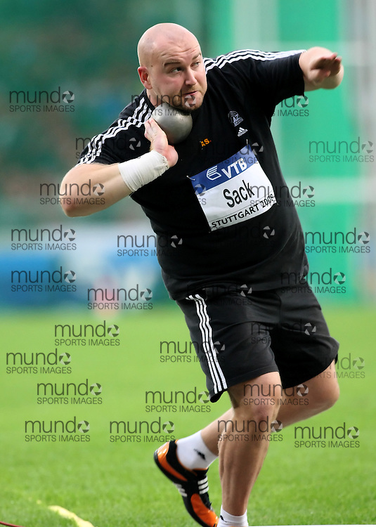 (Stuttgart, Germany---13 September 2008) Peter Sack of Germany throws to sixth place (19.91m) in the shot put at the 2008 IAAF World Athletics Final. [Copyright Sean W. Burges/Mundo Sport Images, 2008.]