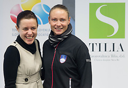 Lea Stumberger and Tina Pisnik  during press conference of Team Slovenia before playing in Zone Group 1 of Fed Cup tournament in Budapest on January 29, 2014 in BTC City, Ljubljana, Slovenia. Photo by Vid Ponikvar / Sportida