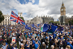 © Licensed to London News Pictures. 09/09/2017. London, UK. The pro-EU People's March For Europe takes gathers in Parliament Square. Speakers including Sir Bob Geldof, Sir Ed Davey and Liberal Democrat leader Vince Cable will address a rally in Parliament Square. Photo credit: Peter Macdiarmid/LNP