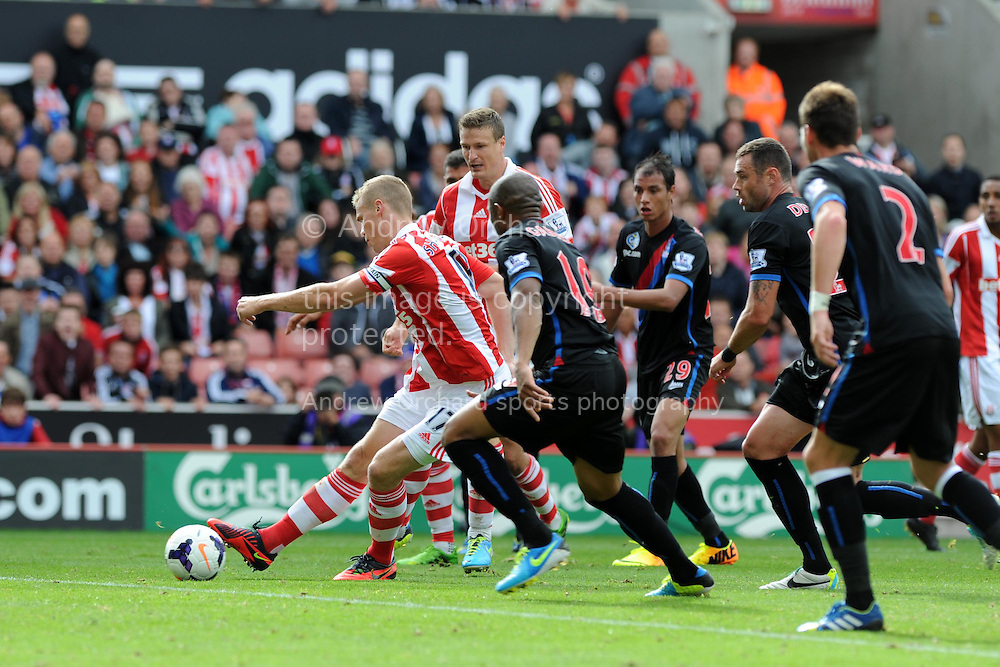 Stoke city's Ryan Shawcross (17 in centre) shoots and scores his sides 2nd goal to make it 2-1.  Barclays Premier league match, Stoke city v Crystal Palace at the Britannia Stadium in Stoke on Trent on Saturday 24th August 2013. pic by Andrew Orchard , Andrew Orchard sports photography,