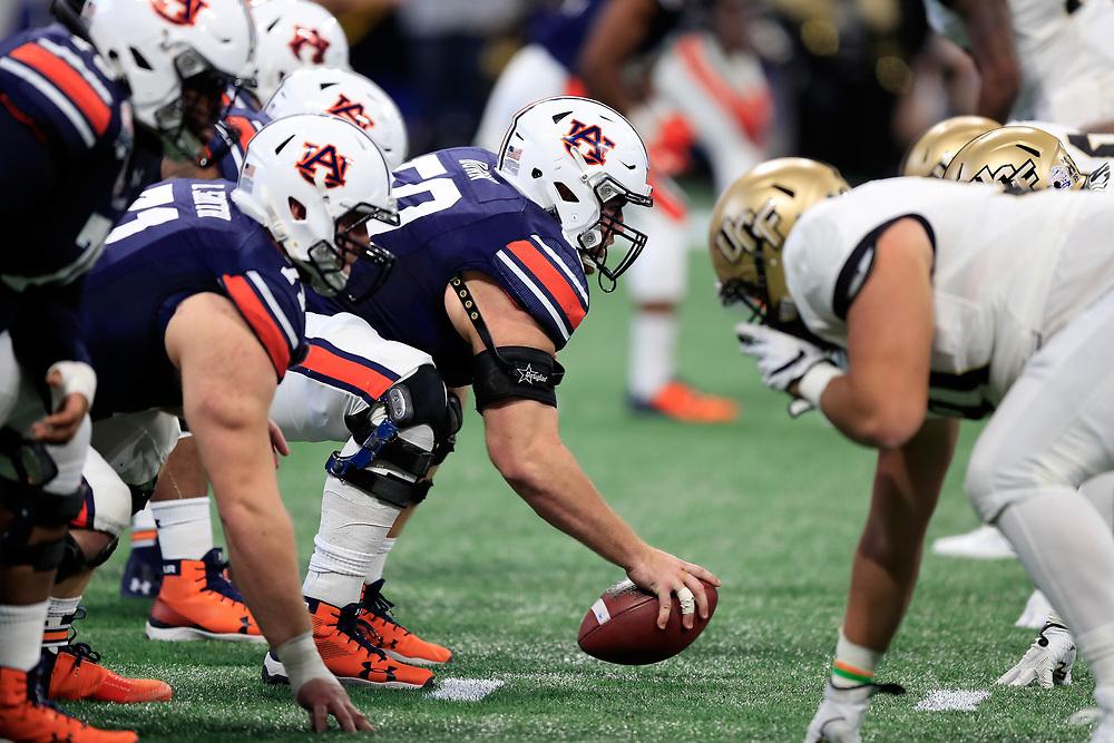 The Auburn Tigers line up against the UCF Knights during the 2018 Chick-fil-A Peach Bowl NCAA football game on Monday, January 1, 2018 in Atlanta. (Paul Abell / Abell Images for the Chick-fil-A Peach Bowl)
