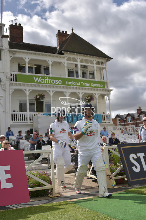 Hampshire openers Will Smith and Jimmy Adams take to the field during the Specsavers County Champ Div 1 match between Nottinghamshire County Cricket Club and Hampshire County Cricket Club at Trent Bridge, West Bridgford, United Kingdom on 13 August 2016. Photo by Simon Trafford.